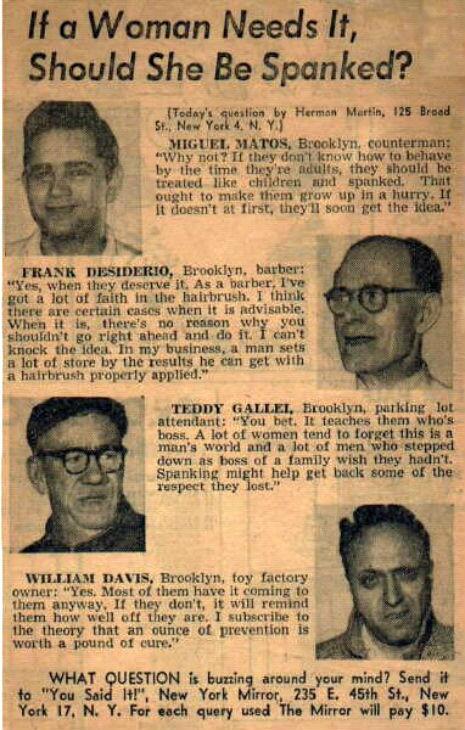IfAWomanNeedsIt-ShouldSheBeSpankedArticle-1950s