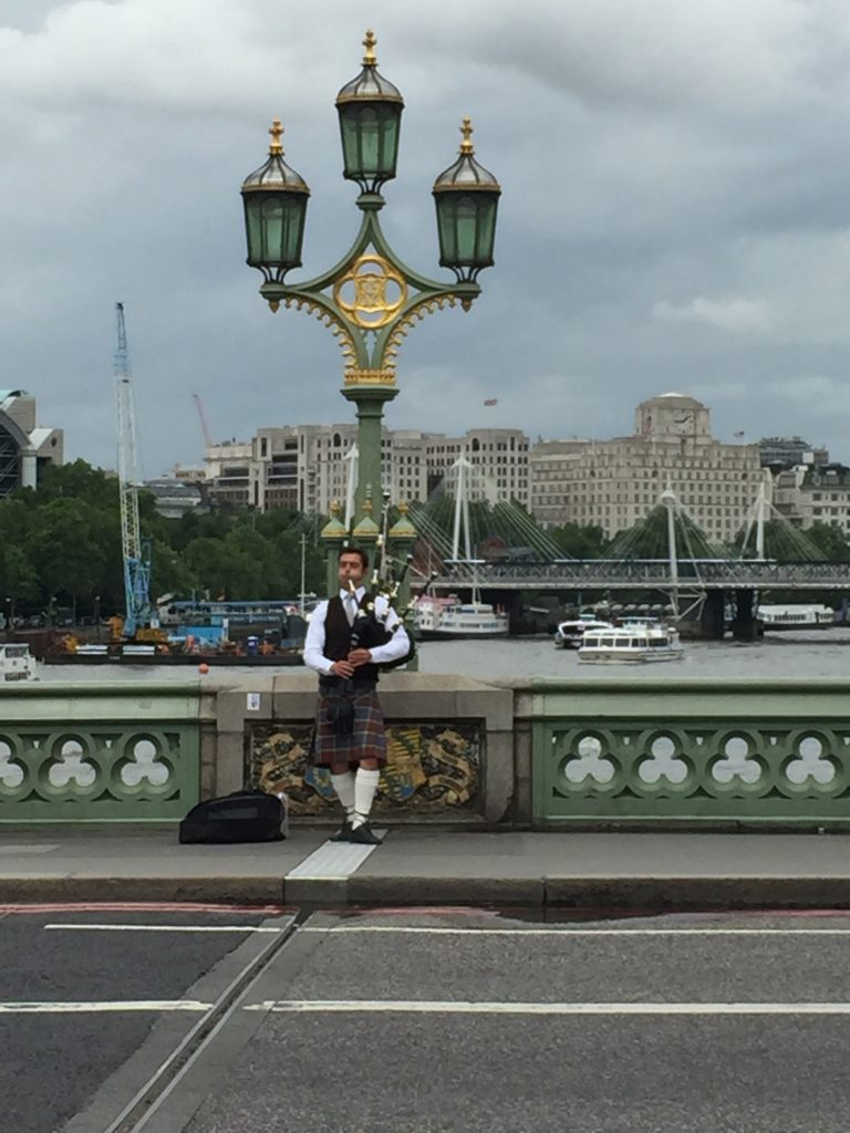 London Bag Piper on bridge 6-16-2016